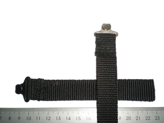 Lashing strap with sewed on metal hook
